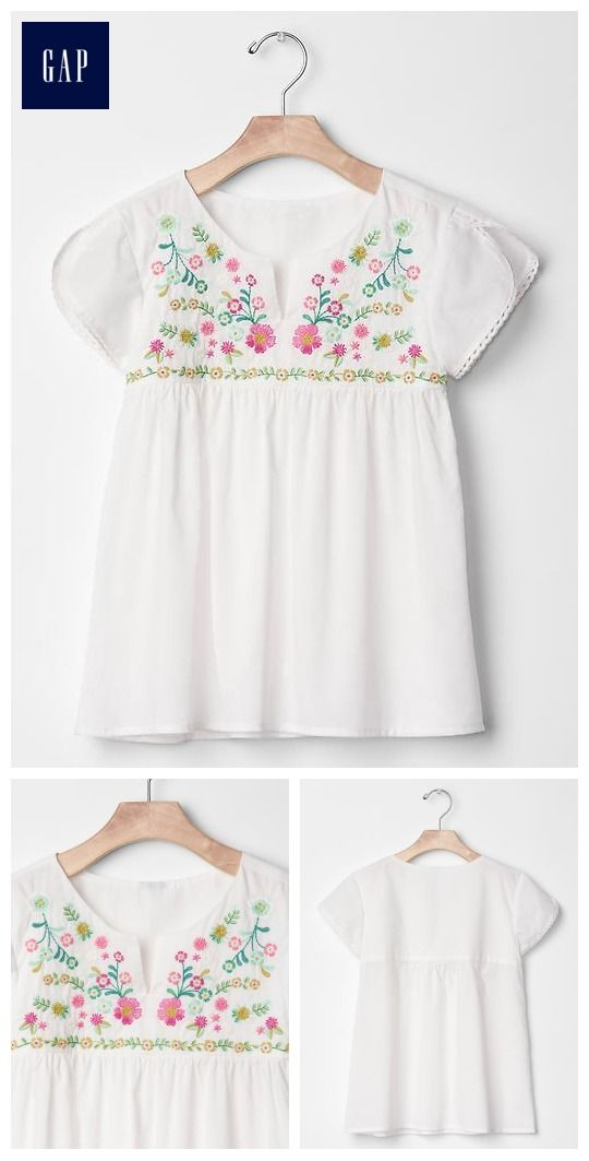 Embroidered floral frock top gap kids clothing