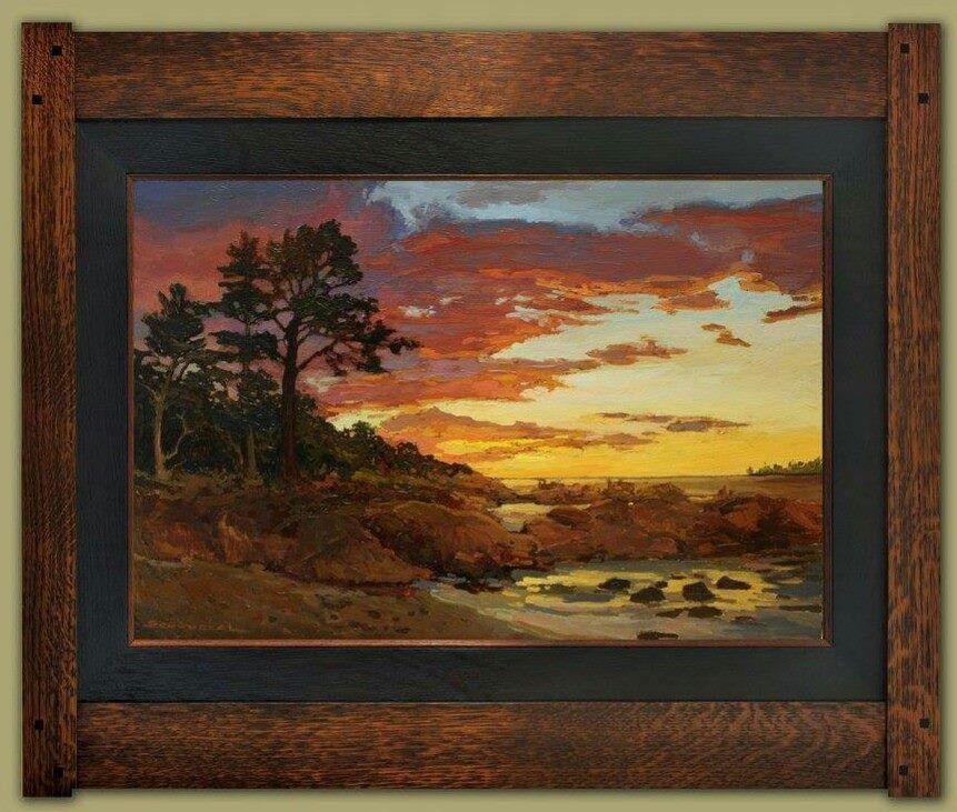 """Rocky Cove Sunset"" | Jan Schmuckal | Dard Hunter Studios Frame | Arts and Crafts | Craftsman | Bungalow | Seascape | Tonalism | Impressionism"
