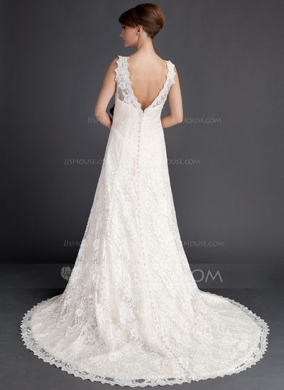 A-Line/Princess V-neck Court Train Satin Lace Wedding Dress With Sash Beading Flower(s) (002015783)