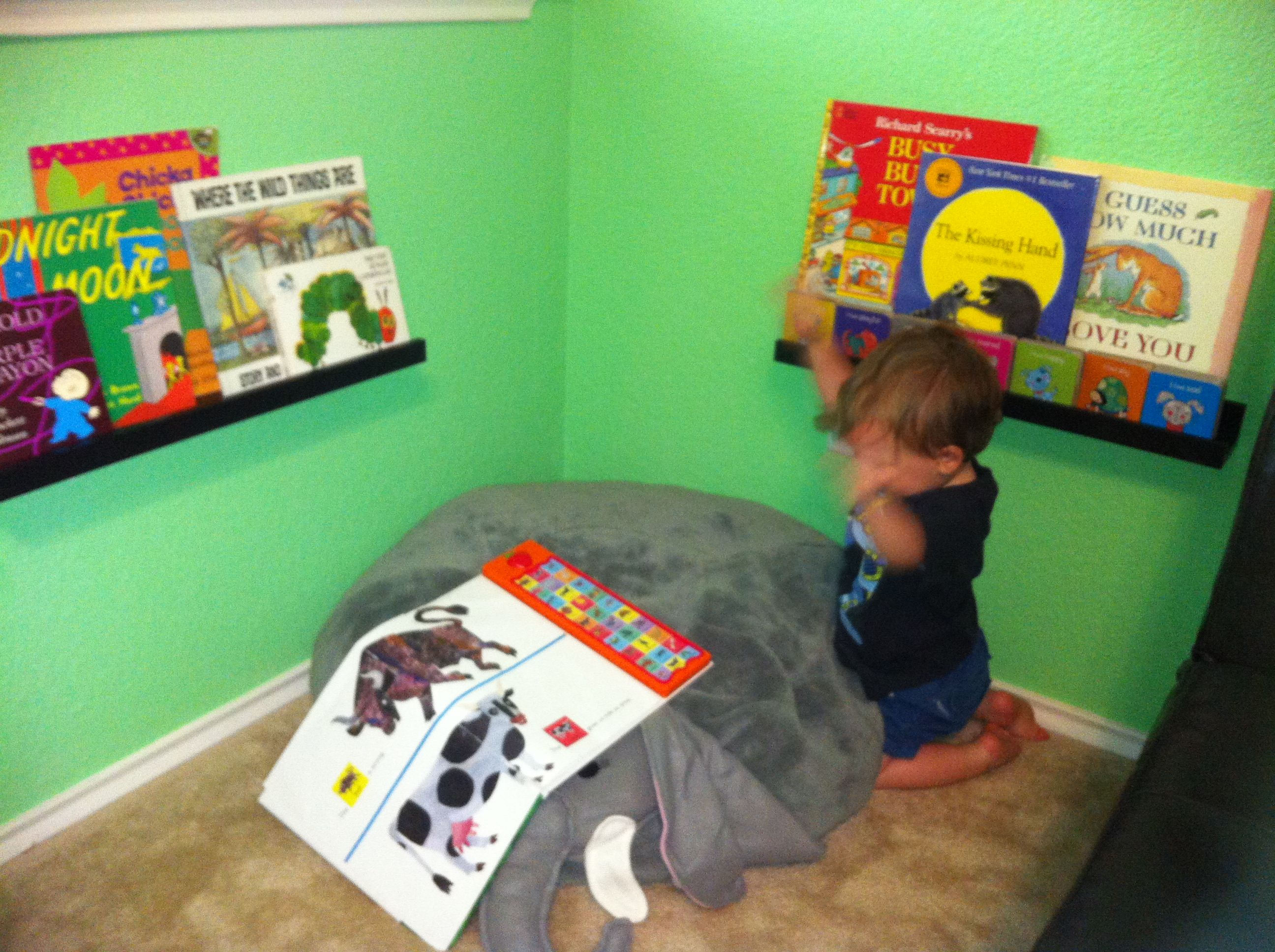 Toddler Reading Corner With Ikea Shelves And Target Elephant Chair