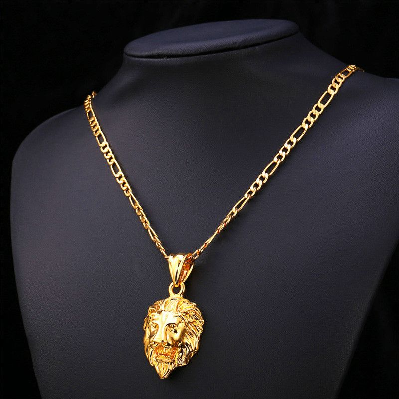 Hiphop Gold Chain For Men Women 18K Real Gold Gold Plated Figaro 2 Size Lion  Head Pendant Statement Necklace Men Jewelry P585 3579316f88