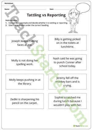 Tattling Vs Reporting Worksheet Tattling Vs Reporting Teaching Classroom Teaching