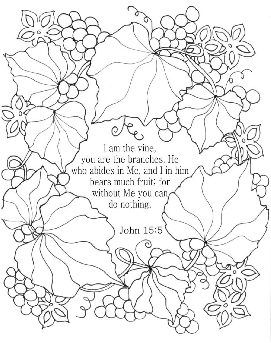 I Am The Vine Bible Coloring Page For Adults John 15 5 Christian Coloring Bible Coloring Pages Bible Coloring