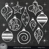 Chalk ORNAMENTS Clip Art / Chalkboard Christmas Clipart / Christmas Chalk Clipart Downloads, ...