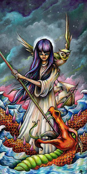 """Woman Slaying Sea Serpent ~ 6""""x12"""" colored pencil and acrylic on wood by Bryan Collins ~ http://www.useeverycolor.com #art #prismacolor #illustration #seamonster #owl #Bryan #Collins #useeverycolor"""