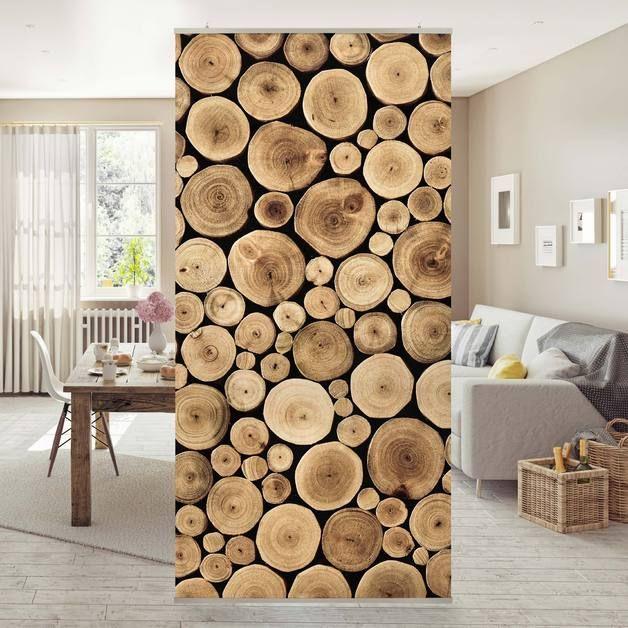 Flächenvorhang Set Homey Firewood Wand Holz Feuer Wand