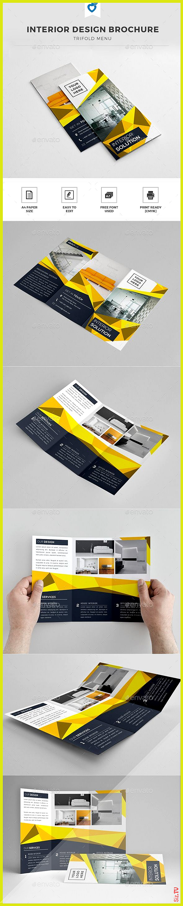 Interior design brochure template design print Download graphicriver  Decoration homedecor homedesig...