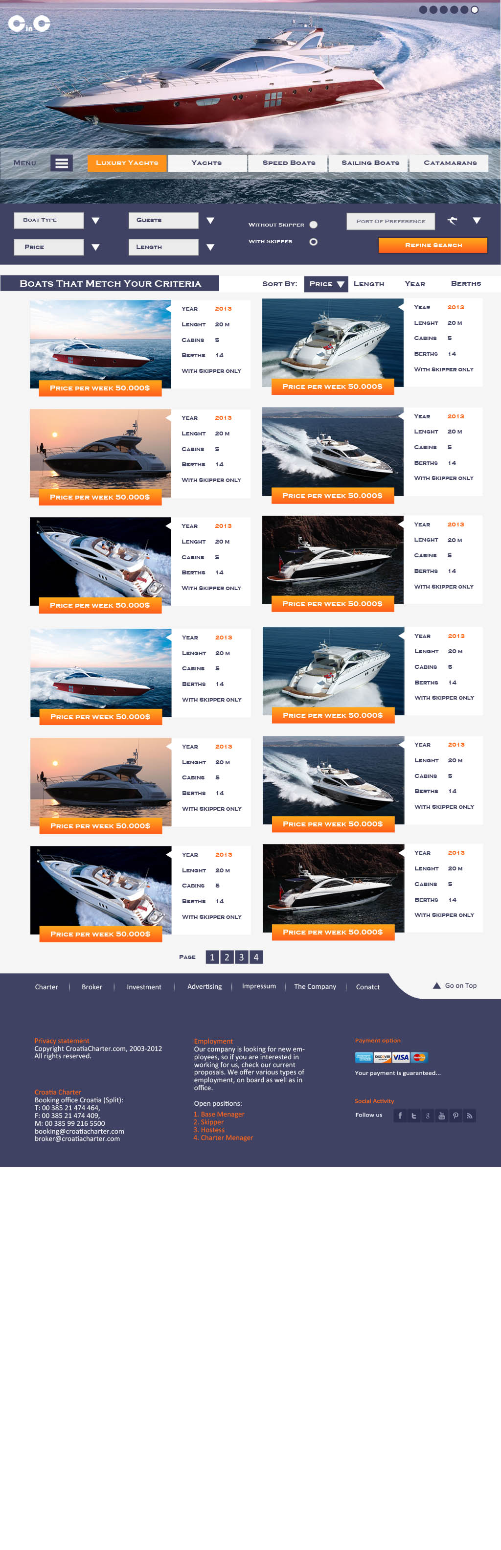 Yachting website project - Listing page