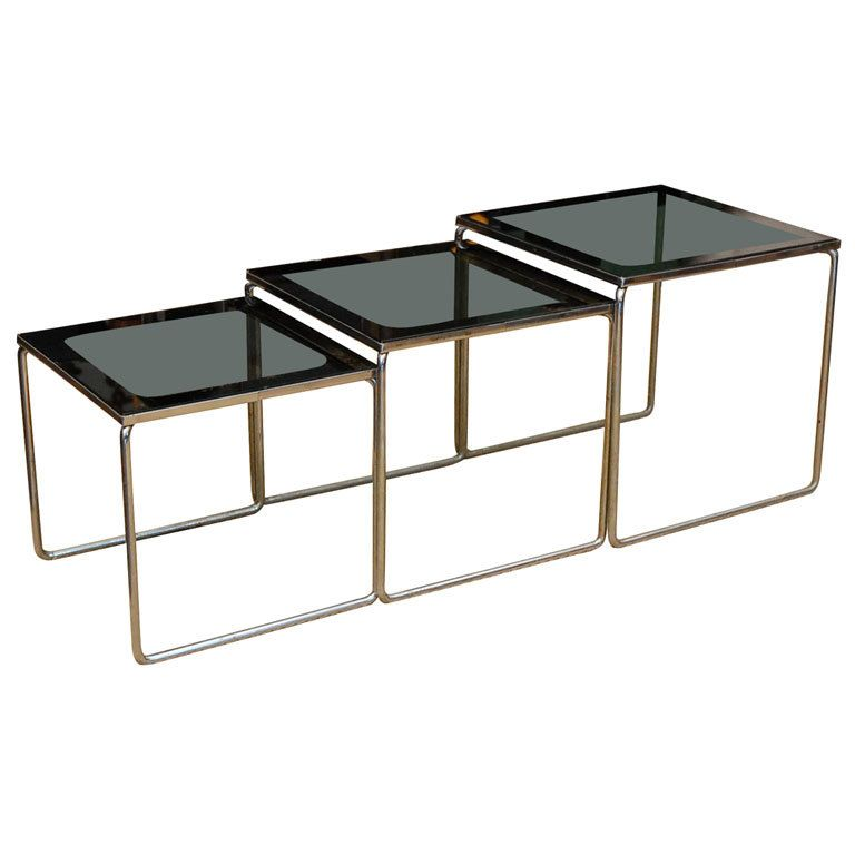 Set Of Smoked Glass And Chrome 70 S Nesting Tables Smoked Glass