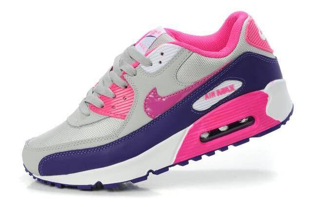 detailed look 36536 5e53c Chaussures Nike Air Max 90 baskets Femmes Bleu Violet Rose (Nouveaux  Produits)