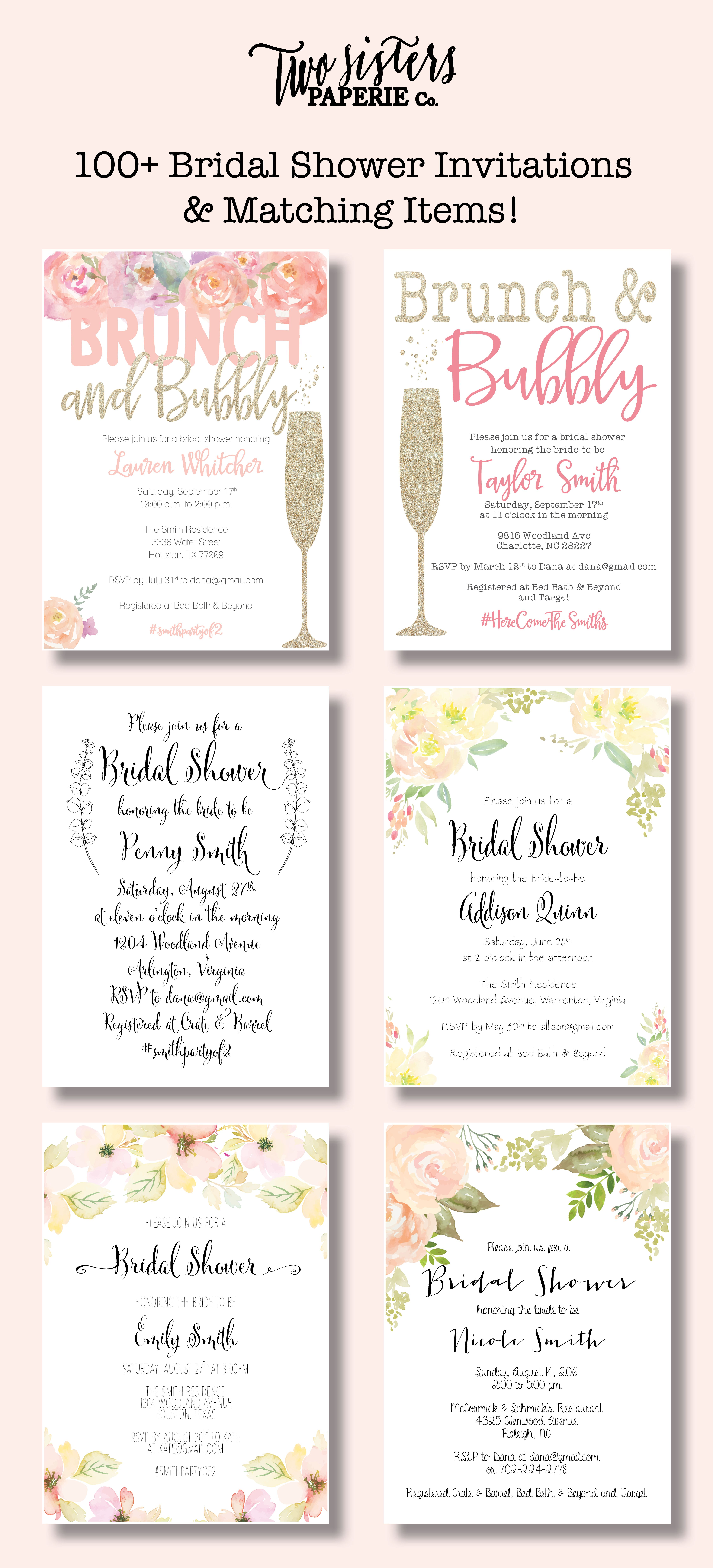 Beautiful Bridal Shower Invitations and matching items for your ...