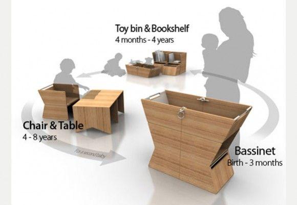 Umwandelbare baby möbel stubenwagen tisch stühle bücherregal
