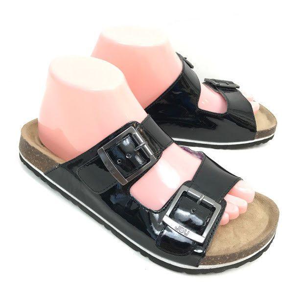 JBU by Jambu Womens Sandals Double Buckle Sz 8 Black Vegan
