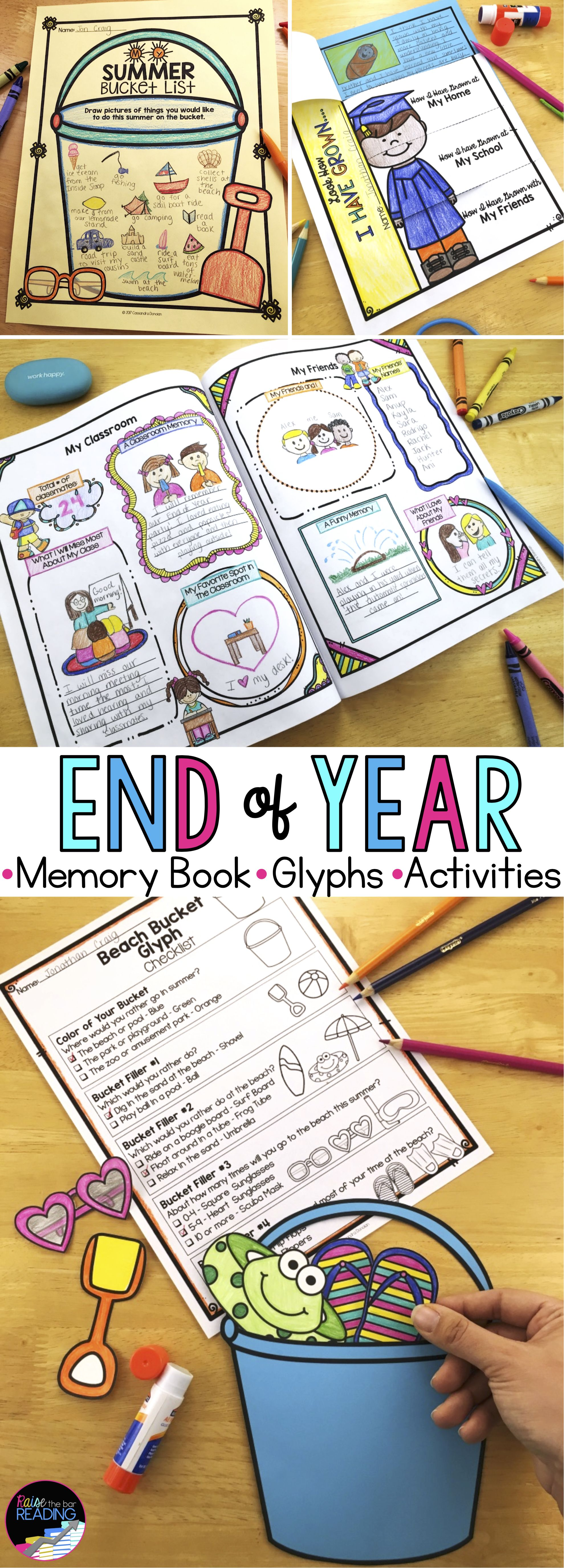 End Of Year Bundle Memory Book Writing Prompts Glyphs