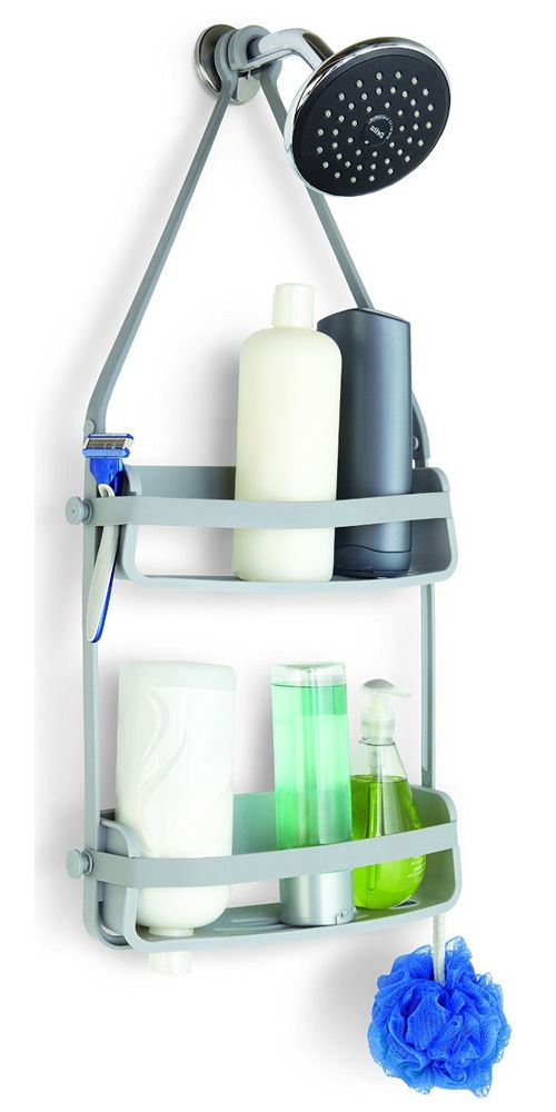 The Flexible Shower Caddy is made of hard plastic and durable rubber ...