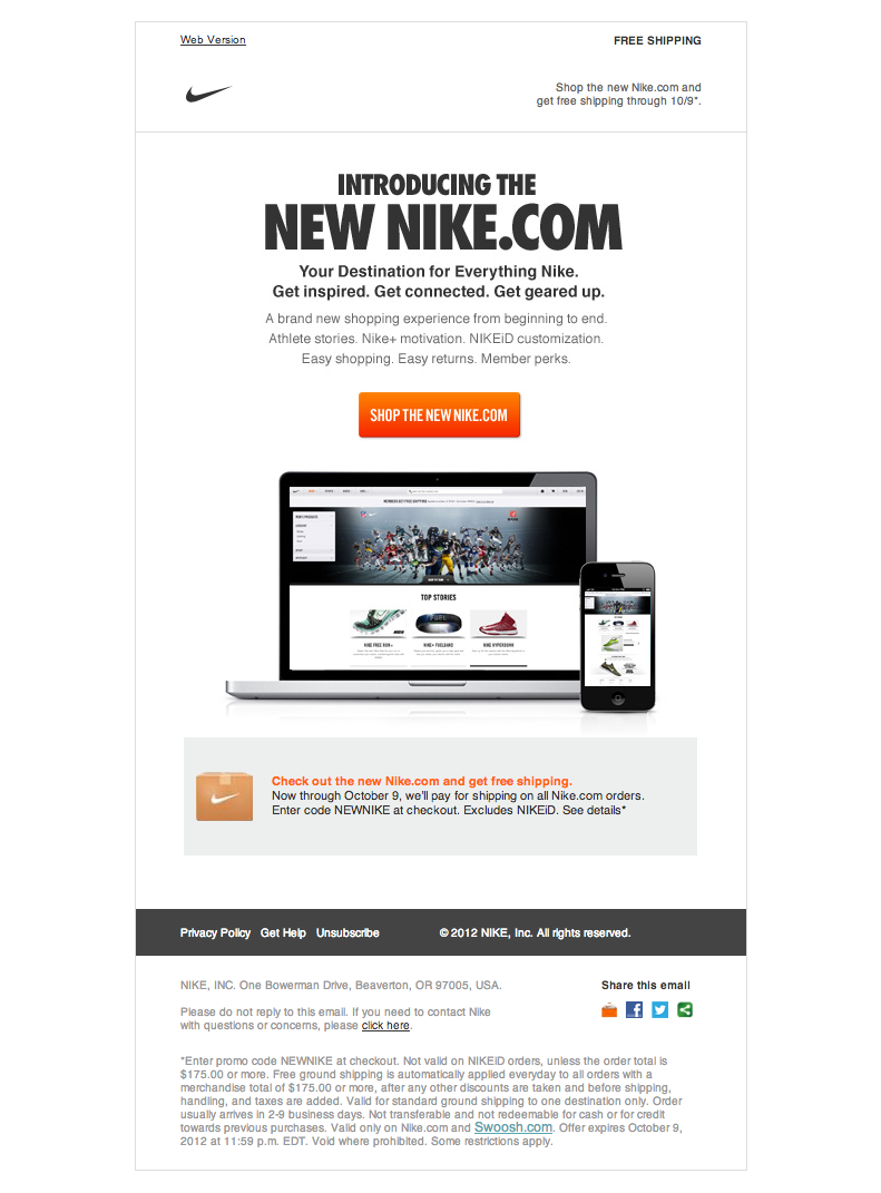 Nike Newsletter Email Gallery Email Design New Website Announcement Responsive Email Template