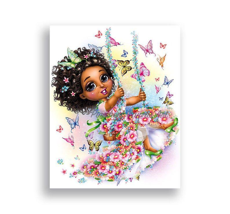 Butterfly Wall Art African American Girls Wall Art Fairy Butterfly Room Decor Brown Skin Girl Nursery Wall Decor Fairy Wall Art Canvas Print