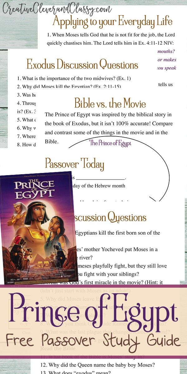 The Prince Of Egypt Study Guide And Discussion Questions Creative