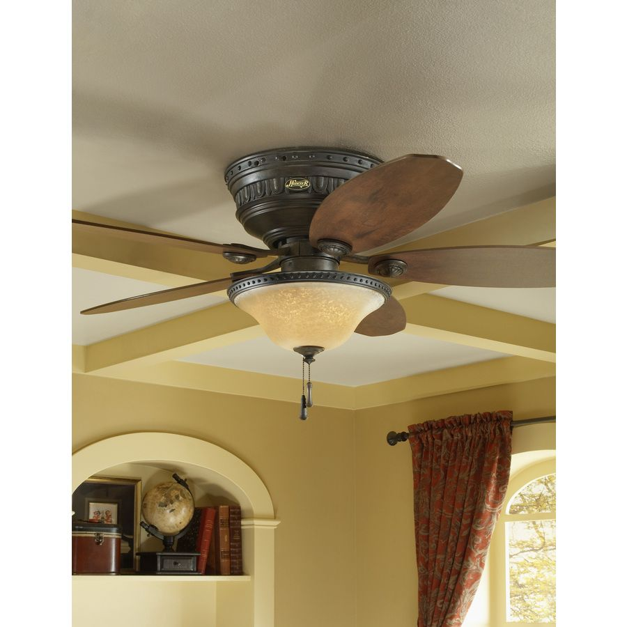 shop hunter avignon 52-in tuscan gold flush mount ceiling fan with
