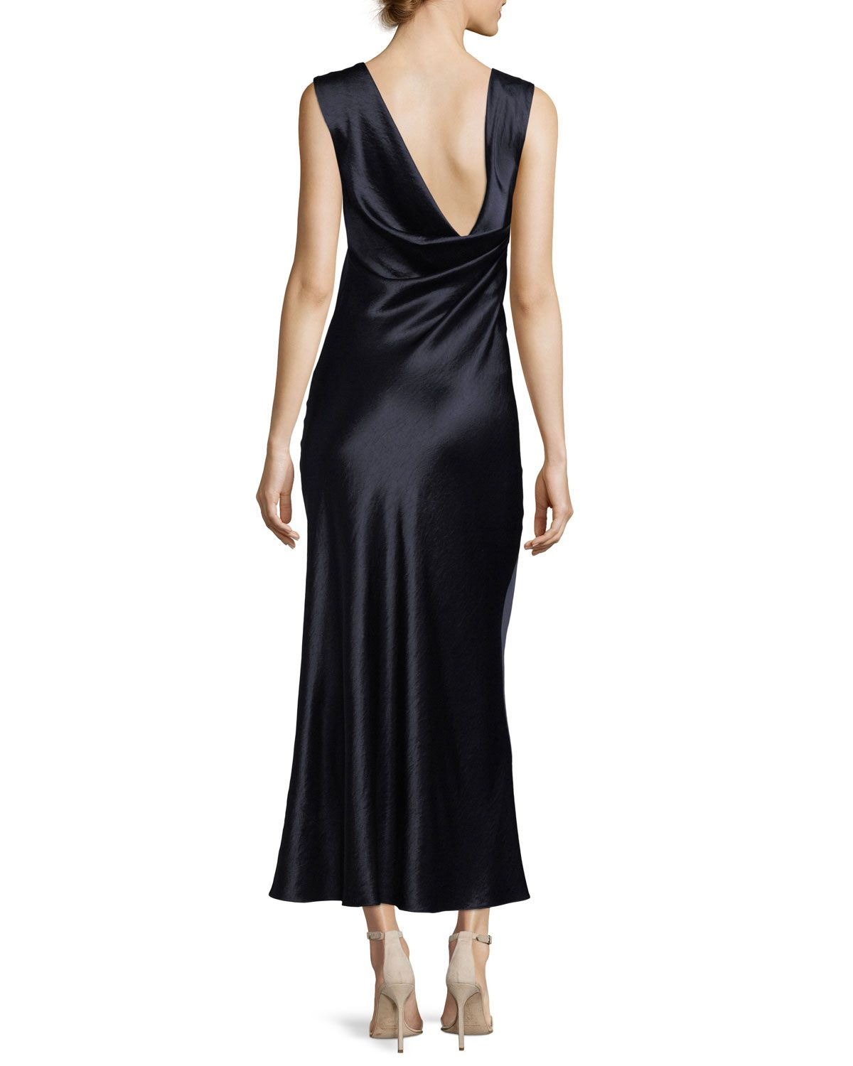 a4f9cd53894 Theory Cowl-Back Sleeveless Double-Sateen Midi Dress | Products ...