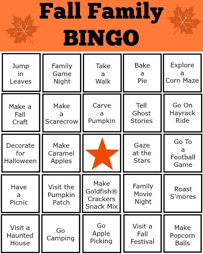 Family Activity Fall Fun Bingo 20 Unique Bingo Cards Kid/'s Party Game Printable Instant Download