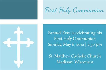 First Communion Invitation Color Blocked In Blue Free Invitation Printables Holy Communion Invitations First Communion Invitations Communion