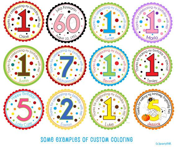 Custom colored examples of the polka dot birthday age number design personalized stickers by partyink