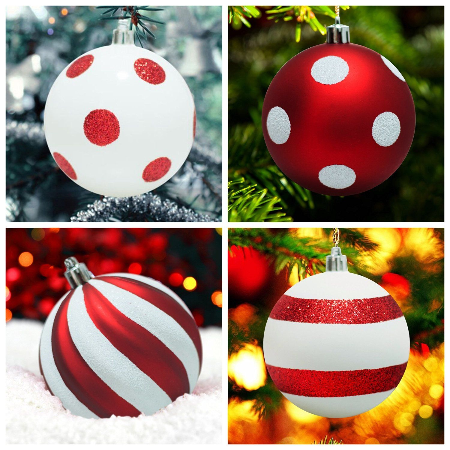 Shatterproof Christmas Tree Baubles Decorations With Polka Dots And Stripe Design Xmas Trees Wedding Candy Themed Party Ba