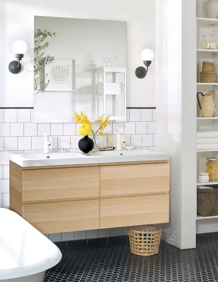 Photo On Love this Ikea godmorgon vanity sink the lighting backsplash and maybe the wall to separate toilet a little