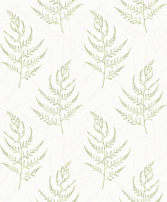 This wallpaper has a delicate green leaf pattern and is