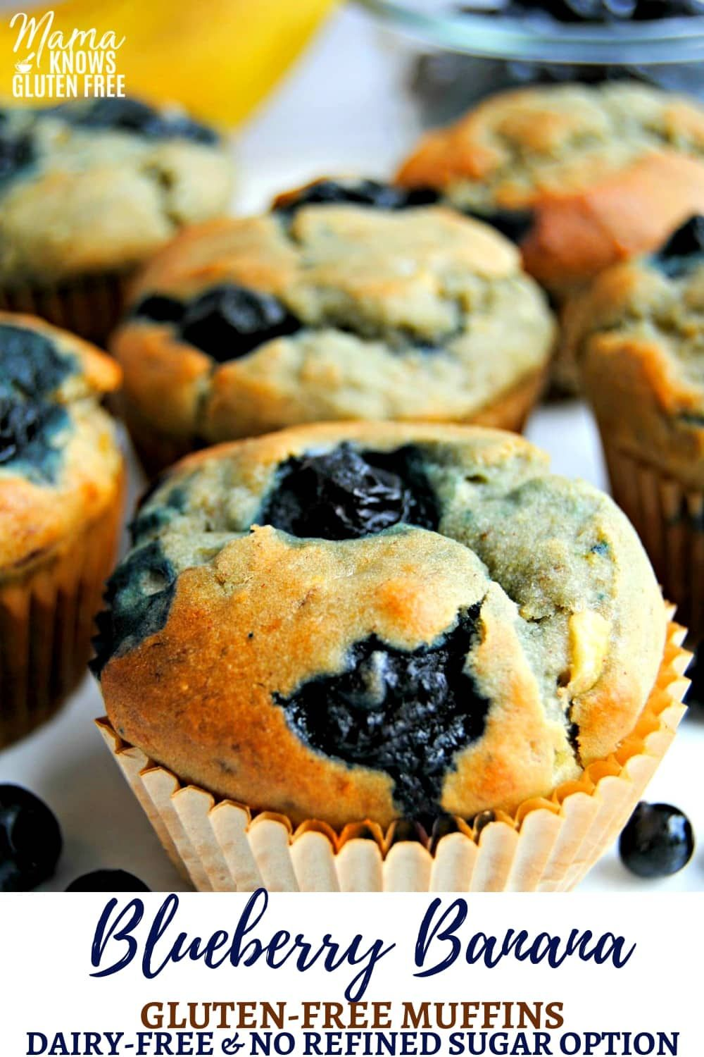 Easy Gluten-Free Blueberry Banana Muffins {Dairy-Free and Refined Sugar Free Option} #sugarfree