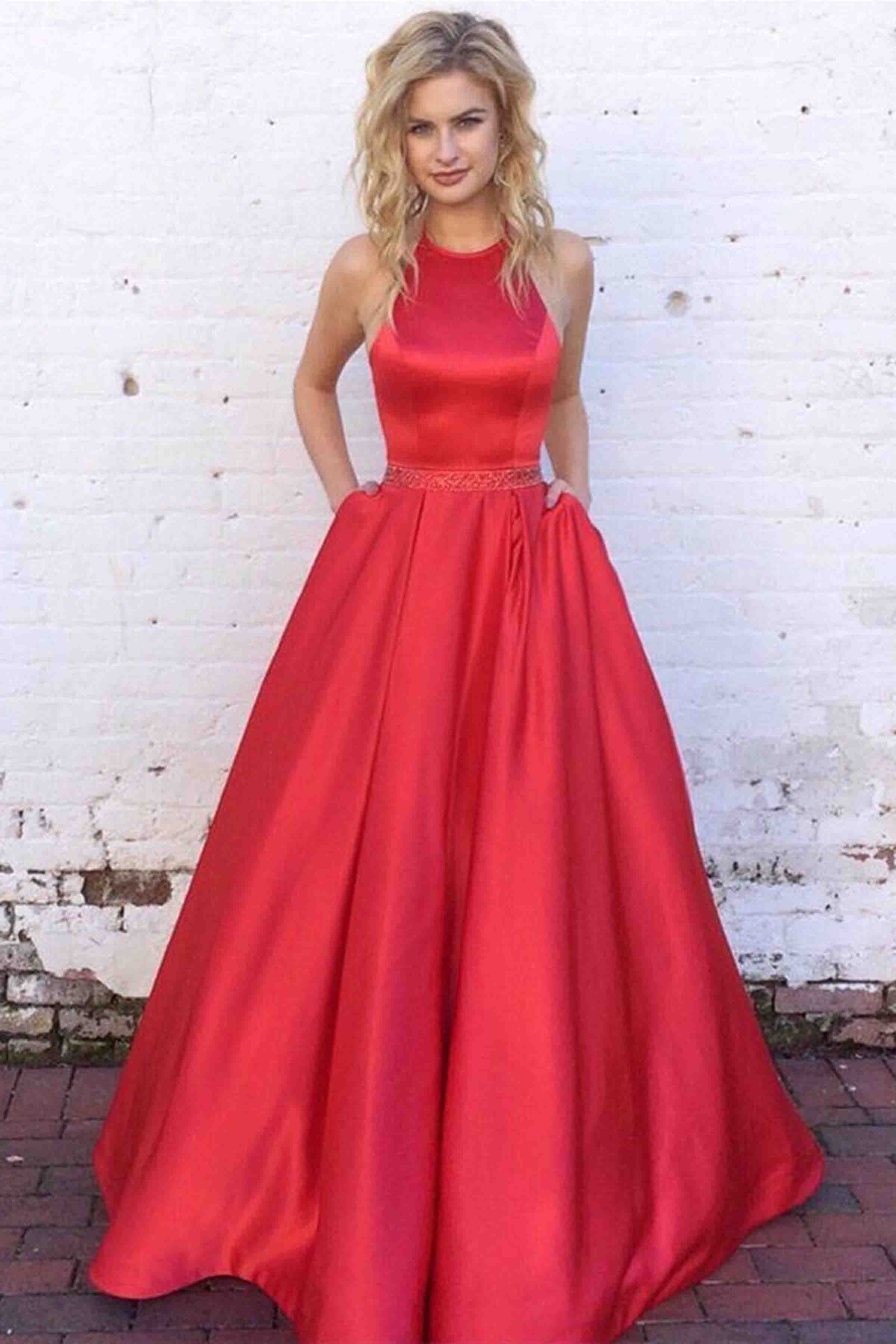 Red satin round neck Aline long prom dresssimple dress from