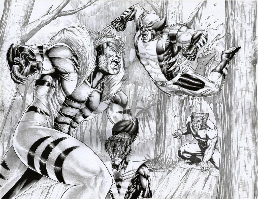 Sabretooth Vs Wolverine Night Crawler And Beast Nightcrawler Xmen Art Art