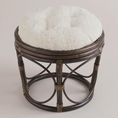 Ivory Faux Fur Papasan Stool Cushion World Market Papasan