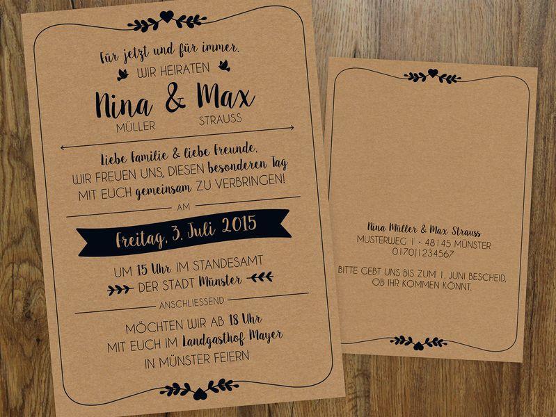 hochzeitseinladung vintage einladungen hochzeitseinladung und einladungskarten. Black Bedroom Furniture Sets. Home Design Ideas