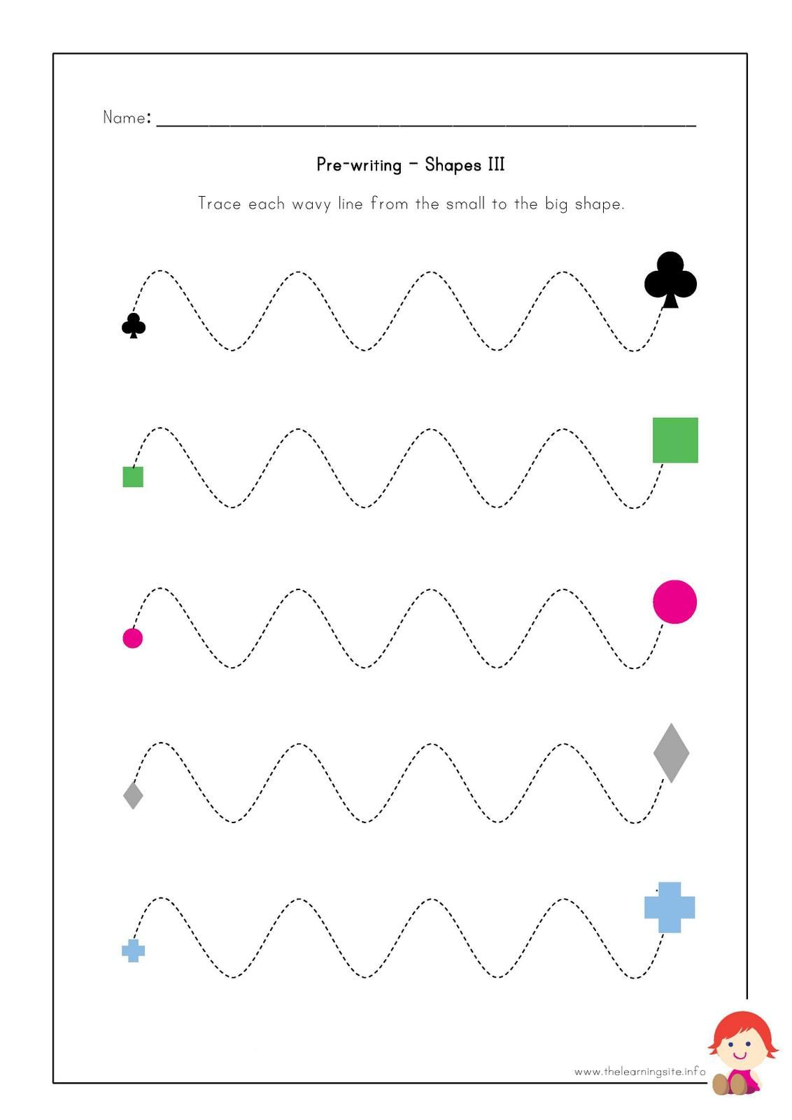 The Learning Site: Pre-writing Worksheets - Shapes | Schooled ...