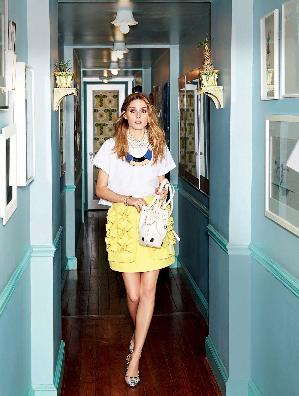 Top, skirt, Delpozo. Shoes, Bionda Castana. Bag, Tod's. Necklace, Marni. Bracelet, Lele Sadoughi