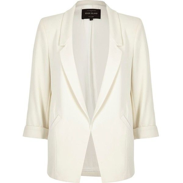 River Island White roll sleeve blazer (145 AUD) ❤ liked on Polyvore featuring outerwear, jackets, blazers, white blazer jacket, river island, white jacket, short-sleeve blazers and river island jacket