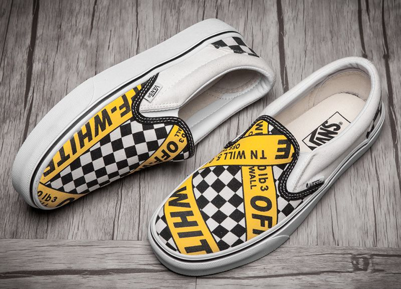 b833d8fbd6 AMAC Customs OFF-WHITE x Vans Caution Slip On Skate Shoes  Vans ...