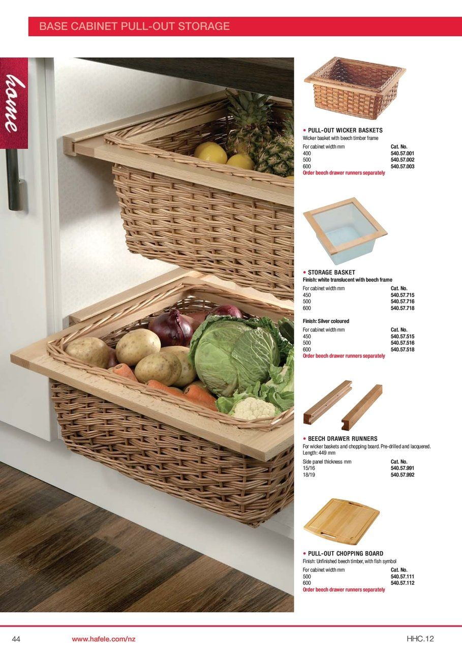 Under Counter Storage Ideas found at Hafele.com. Wicker Baskets ...