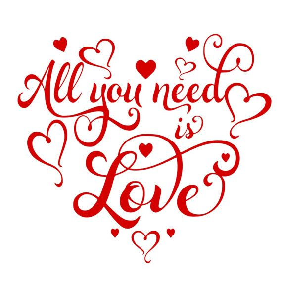 SVG - All You Need is Love - Romantic SVG - Love - Wedding Sign - Wall Art Design - Red - Digital Cu