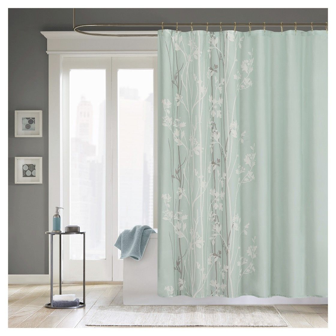 Athena Floral Microfiber Shower Curtain Teal With Images Green