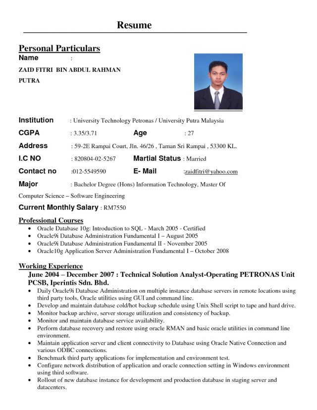 format resume kerja kerajaan resume format and template