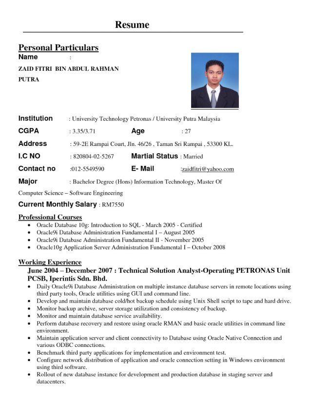 format resume kerja kerajaan pinterest resume format and template