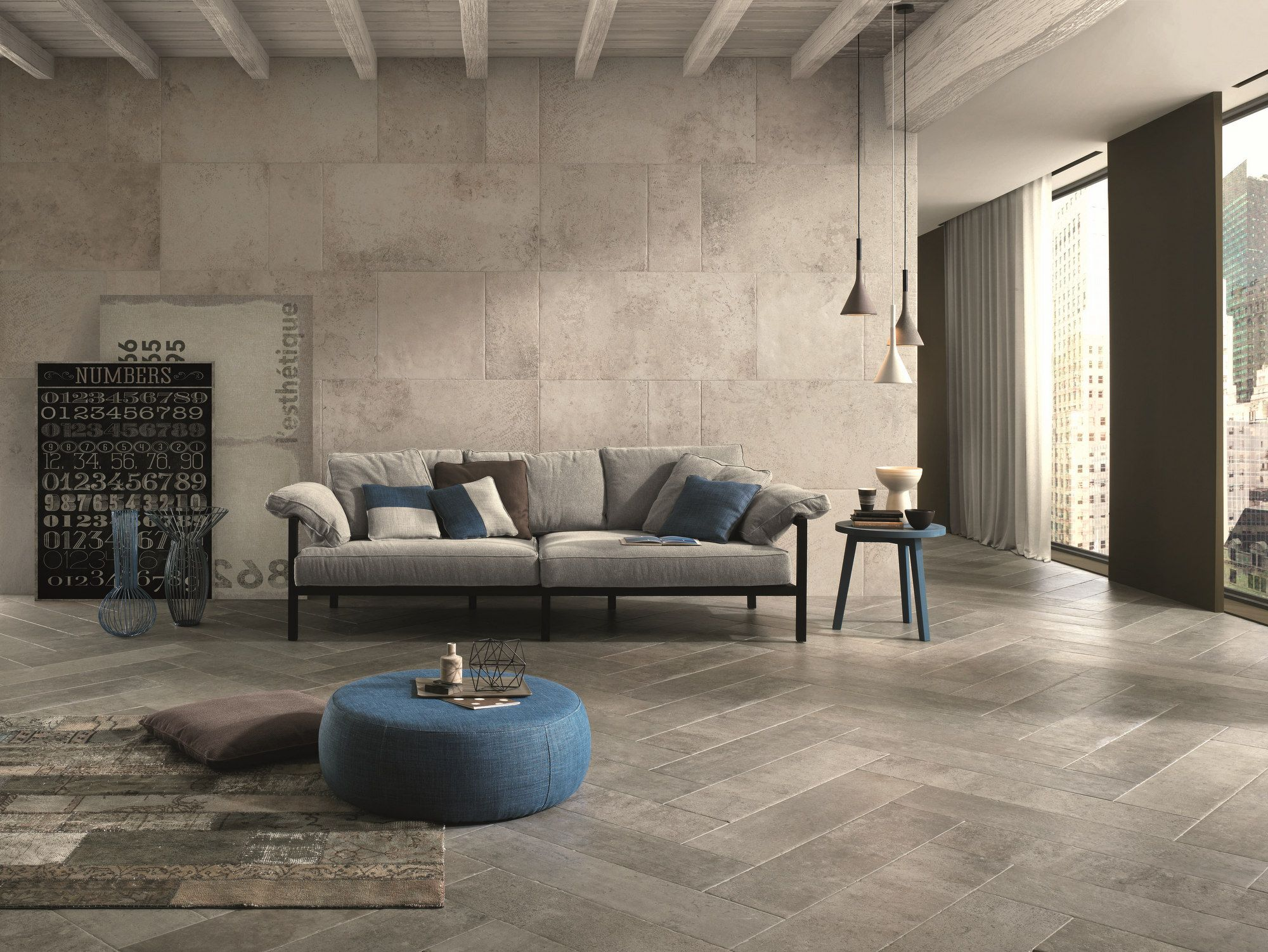 Full Body Porcelain Stoneware Wall Tiles Flooring Stone Age Chianca Stone Age Collection By Italgra Chandelier In Living Room Stone Flooring Blue Living Room #stone #floor #living #room