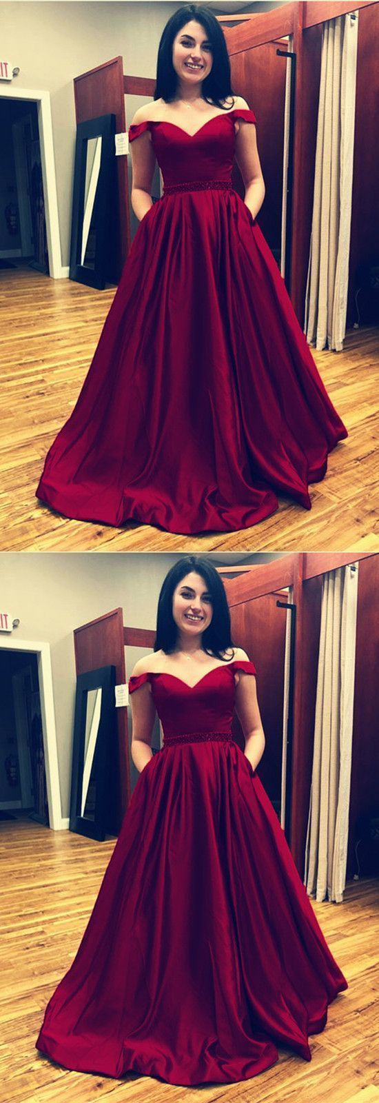 Off the shoulder long prom dress fashion pageant dress school