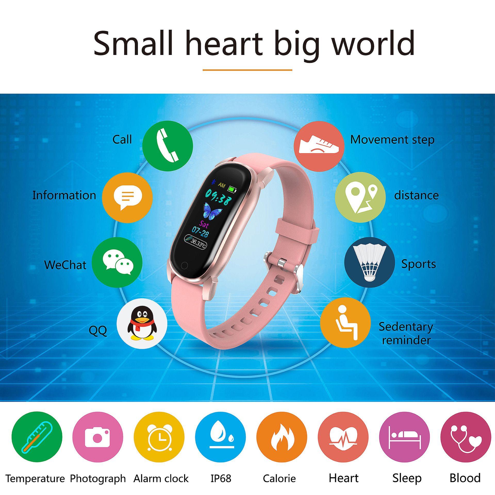 SMARTWATCH HEART HATE MONITOR IP67 WATERPROOF SLEEP TRACKING BLOOD PRESSURE PEDOMETER TOUCHSCREEN