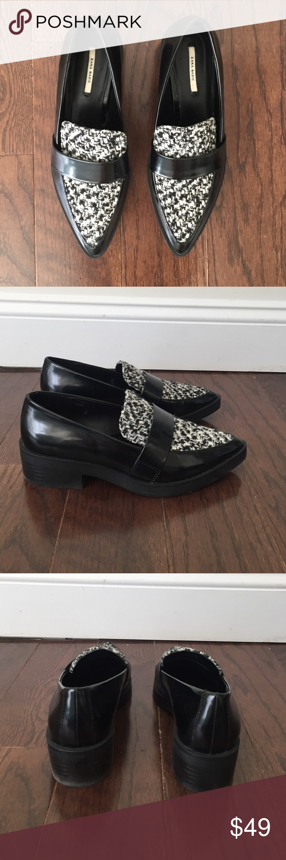 Zara Pointy Toe Loafers Black patent pointy toe heeled loafers with textured black and white material. Worn once. Zara Shoes Flats & Loafers