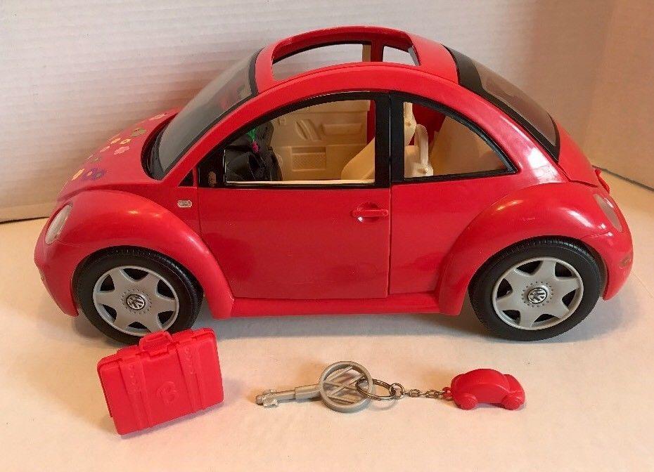 2000 Mattel Barbie Red Vw Volkswagen Beetle Bug Toy Car W Key Flower