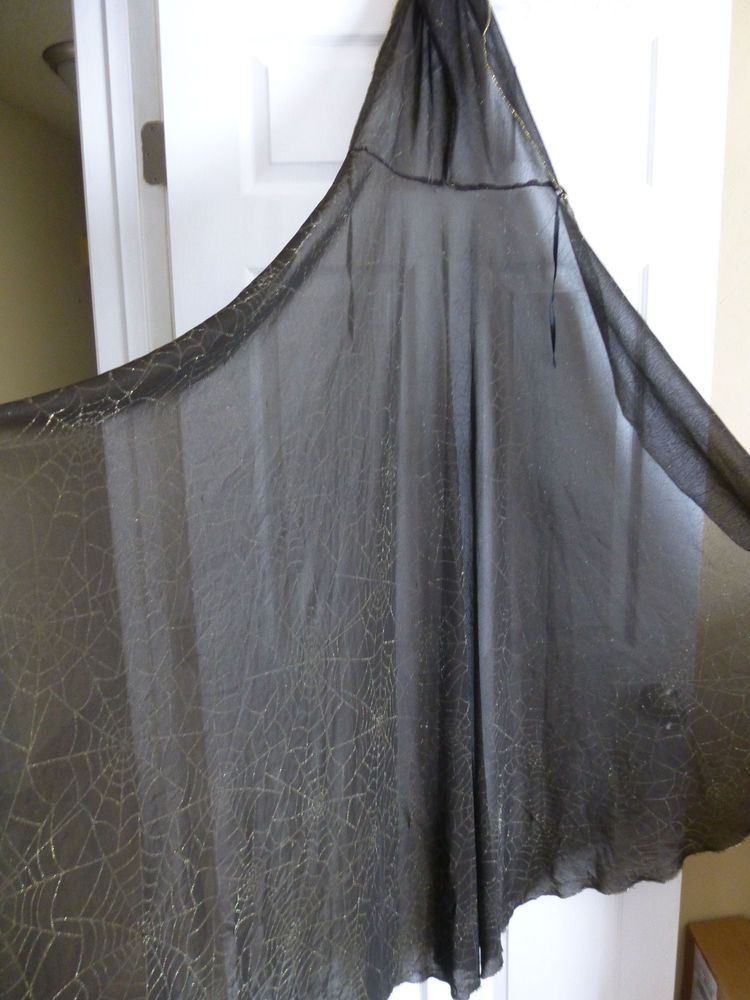 Womens Halloween Hooded Spiderweb Sheer Cape Black w/ Gold Glitter Webs and Trim